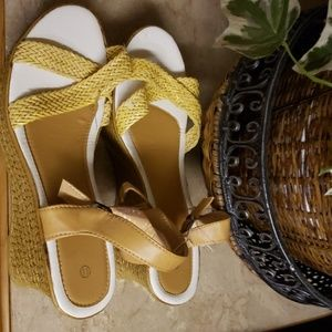 Shoes - strapy sandals size 11 yellow wedge